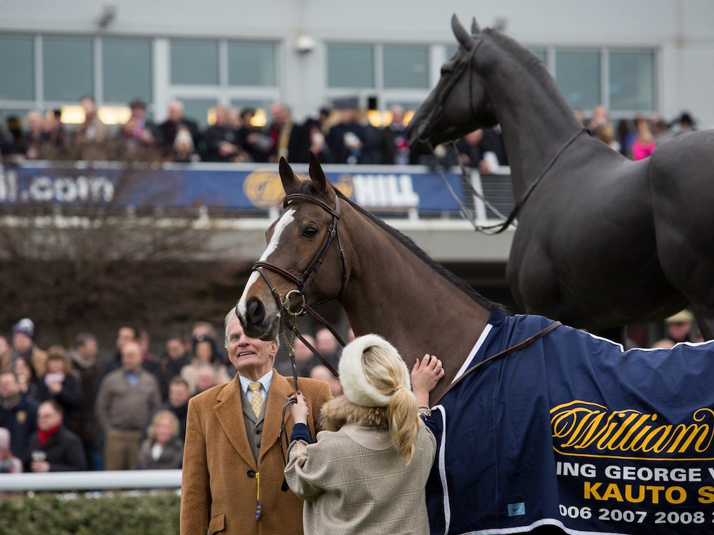 Laura Collett and Kauto Star, by his statue, at Kempton, December 26th 2014